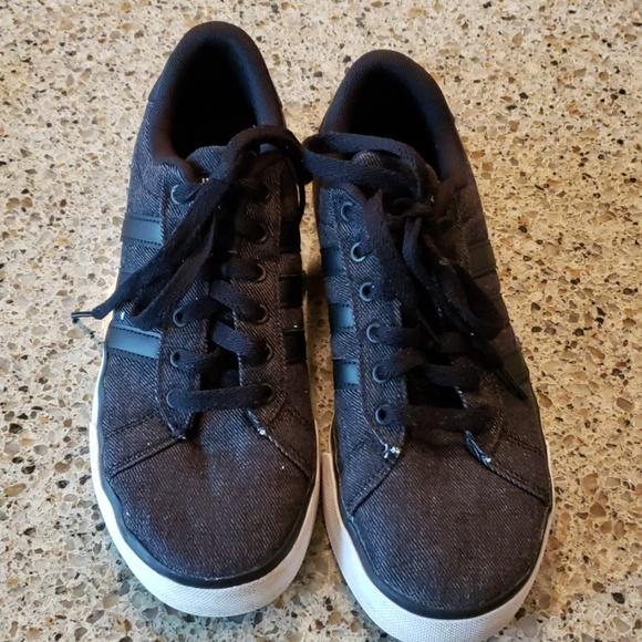 Men's Adidas Daily Black Denim Sneakers
